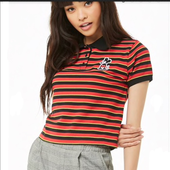 f040d82c351c1 S- Disney x Forever 21 striped Red  Black Crop Top
